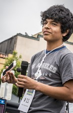 "Bryan Sian, 16, of Eureka, was a crowd favorite in the Oyster-Calling Contest (13-17-year-old category) with his innovative use of technology: ""Siri ... call an oyster!"""