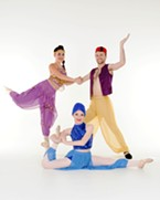 Jasmine, Aladdin, & Genie: Back row from left to right: Adriana Granados, Cain Towers. Front middle: Brooke Grammer.