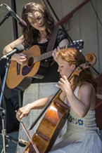 It was Irish music (mostly) from Summer McCall and Rosalyn Parducci on the Dell'Arte Amphitheatre stage during Saturday's All Day Free Fest at the Humboldt Folklife Society's Folklife Festival in Blue Lake.
