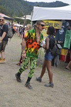One reggae fan paired a cannabis-themed jumpsuit with a mask based on ones traditionally used in the Italian Commedia.