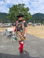 Darla Marshall shows some serious style on Saturday night. The outfit was handmade by an elder who has since passed on.