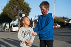 Alex Phetsouphanh, 6, and Samuel Young, 10, had elaborate makeup for the Zombie Walk.