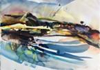 "Bob Benson's watercolor ""Fall River Fishing Place."""