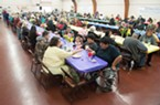 The crowd waits for food service to begin at the Intertribal Gathering and Elders Dinner.