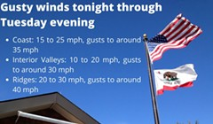 Gusty Winds Expected to Increase Tonight, Last until Tuesday