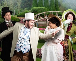 PHOTO COURTESY OF NORTH COAST REPERTORY THEATRE - From left, Steven Santos, Matt Khonach, Amelia Resendez and Megan Hughes star in The Importance of Being Earnest at North Coast Repertory Theatre.