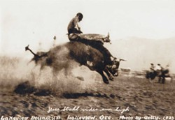 SUBMITTED - Jesse Stahl riding a bull at the Lakeview Rodeo.
