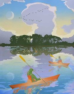 "COURTESY OF THE ARTIST - ""Kayaks,"" serigraph by John Wesa at Arcata Artisans."