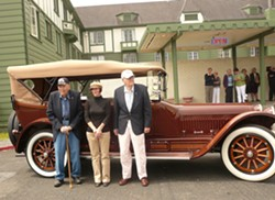 Thomas H. Monroe, Jr., Tamara Myers, and Putnam Monroe with a Harper Museum car, July 2012.