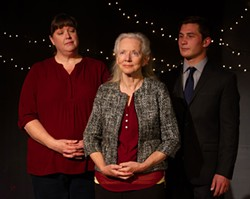 PHOTO BY EVAN WISH, COURTESY OF REDWOOD CURTAIN THEATRE - Christina Jioras, Joan Schirle and William English III in an AI drama.