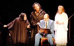 PHOTO BY KRISTI PATTERSON, COURTESY OF FERNDALE REPERTORY THEATER  - Denise Ryles as Igor, Greta Turney as Frau Blucher, Rigel Schmitt as Fredrick Frankenstein and Johanna Turney as Inga.