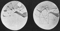 PUBLIC DOMAIN - Martian canals, as depicted by Percival Lowell around 1900. By 1909, observations from the the 60-inch Mount Wilson Observatory telescope showed them to be optical illusions.