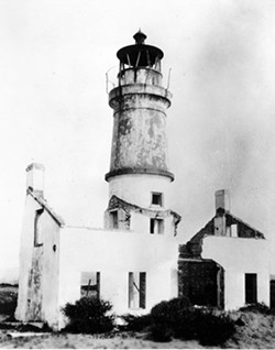 HUMBOLDT COUNTY HISTORICAL SOCIETY - Ruins of the Humboldt Harbor Lighthouse as seen in the 1930s.