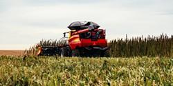 SHUTTERSTOCK - Combine harvesting hemp