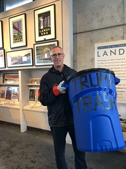 "TWITTER - North Coast Congressman Jared Huffman with his ""Trump trash."""