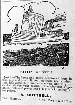 """This advertisement from a 1902 Eureka High School """"Sequoia"""" illustrates Humboldt's dependence upon commerce by sea. - Photo credit: Raymond Hillman"""