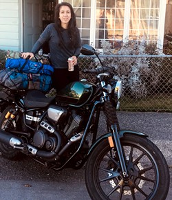 PHOTO BY CIARA TORRES - Sara Glass, geared up to ride.