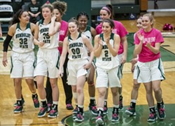 Humboldt State women's basketball celebrates following a win. - Uploaded by Andrew Goetz