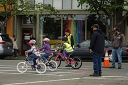 CITY OF ARCATA - Young bicyclists participate in a rodeo-style bicycle obstacle course at the 2018 Kids Bike Rodeo.