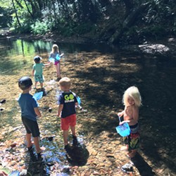 Last year's hikers getting their feet wet while they catch macroinvertebrates. - Uploaded by Sanctuary Forest