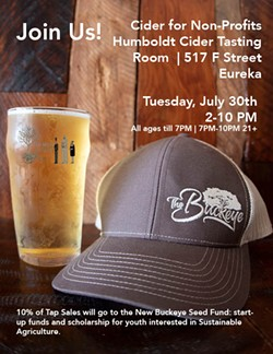 Join us for Ciders for Non-Profits with Humboldt Cider Company and The Buckeye!   Tuesday, July 30th - Uploaded by Valerie Grant