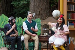 From left to right: Michael Enis (Badger), Charlie Heinberg (Fox), Abi Camerino (Chicken) - -Talking about the spirals of a pine cone that present a natural example of Fibonacci sequences- - PHOTO BY: Patrick Rutherford