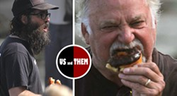 Local artist Matt Beard on the left, and Jeff Yeomans on the right- both captured mid donut at a plein air event in San Diego organized by Beard in 2016. Seeking local donut sponsorship for this event. Contact Matt Beard for more info. - Uploaded by beardart