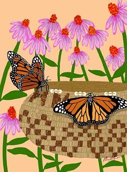 Butterfly Pattern/Echinacea by Meyo Marrufo.