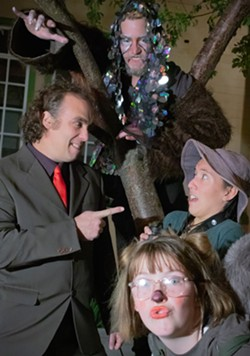L Ben Clifton as Mr. Jon Luc Bistard, above Aaron Dury as The Energy Monster, R Camille Borrowdale as Edison, and Halla Kramer as Squirrel 1