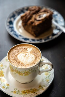 AMY KUMLER - Candied pecan banana bread with a latte.