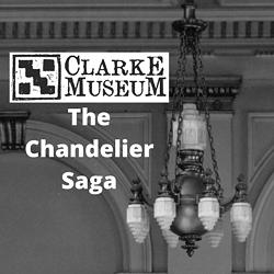 """Clarke Museum Chandelier with the Clarke Logo and """"The Chandelier Saga"""" - Uploaded by clarkemuseum"""