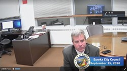 SCREENSHOT - Interim Eureka City Manager Miles Slattery during the virtual Sept. 15 council meeting.