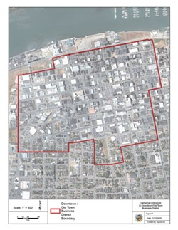 SUBMITTED - A city map shows one of the business zones in which camping will be prohibited under the city's new ordinance.