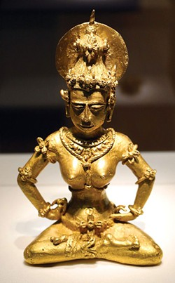 """PHOTO BY SAILKO, VIA CREATIVE COMMONS - Four-pound gold """"Agusan"""" image from the Philippines, ninth century, representing either a Hindu Shiva worshipper or a Buddhist Tara."""