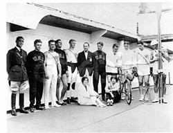COURTESY OF THE CLARKE HISTORICAL MUSEUM - Elta Cartwright is sitting up front on the right, near bicycle.