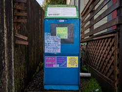 PHOTO BY MARK MCKENNA - The little free food pantry that sits outside HACHR's Eureka headquarters.