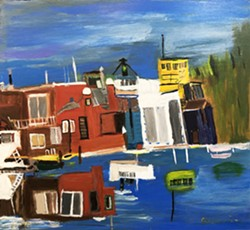 """Chris Johnson, """"Sausalito,"""" acrylic on wood panel"""