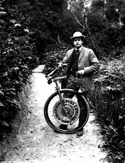 Bike shop owner and extreme unicyclist. Photo courtesy of Humboldt - State University Special Collections.