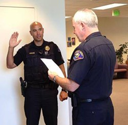 CITY OF ROHNERT PARK POLICE & FIRE FACEBOOK PAGE. - Jacy Tatum is sworn in as a Rohnert Park police sergeant in July 2015.