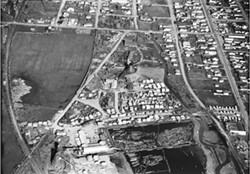 CREDIT: MERLE SHUSTER/ARCATA MARSH HISTORY: UNION WHARF, MAD RIVER CANAL, RECLAMATION, LUMBER MILLS, CITY DESIGNS BY SUSIE VAN KIRK - Arcata Mill: The Little Lake Industries mill site, which is contaminated by dioxin, as photographed in 1950.