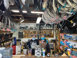 PHOTO BY NANCY GARCIA - Sage Saatdjian and Sprout Plankton of Moon Cycle bike shop in Arcata.