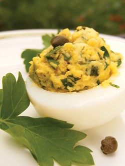 PHOTO BY ANDREA JUAREZ - Eggs bedeviled with salsa verde.