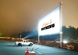 our custom-built 45ft screen & projector set-up! - Uploaded by Big Picture Movies