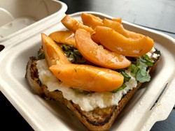 PHOTO BY JENNIFER FUMIKO CAHILL - Familia's Sweet & Savory toast with ricotta and apricots.