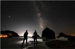 PHOTO BY DAVID WILSON - We watched Jupiter, Saturn and the Milky Way slide across the sky as we waited for another meteor. But three major meteors in one night were not to be, not for us. Sept. 10, 2021 at Houda Point Beach, Humboldt County, California.