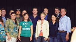 GRANT SCOTT-GOFORTH - Gavin Newsom (center) poses with Second District Supervisor Estelle Fennell, Congressman Jared Huffman, Assemblyman Jim Wood, Trinity County Supervisor Judy Morris and members of California Cannabis Voice.