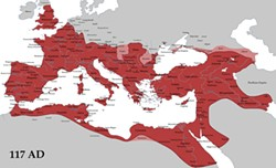 TATARYN77/WIKIMEDIA CREATIVE COMMONS - The Roman Empire at its maximum extent (under Trajan) is comparable in size to the lower 48 states.