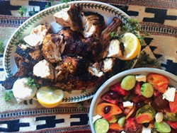 PHOTO BY HEIDI VANBUSKIRK - Classic Greek revival: grilled chicken and tomato salad.