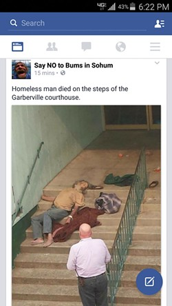 A screenshot from the No Bums in Sohum page, now Saving Sohum, of Robert Joseph Walters, 59, who died on the steps of the Garberville courthouse after leaving the hospital.