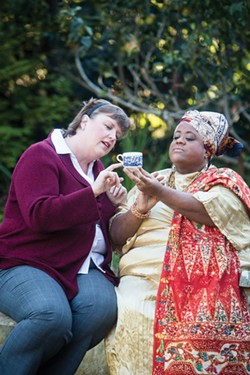 COURTESY OF REDWOOD CURTAIN THEATRE. - Christina Jioras and Juanita M Harris find a tempest in a teacup.